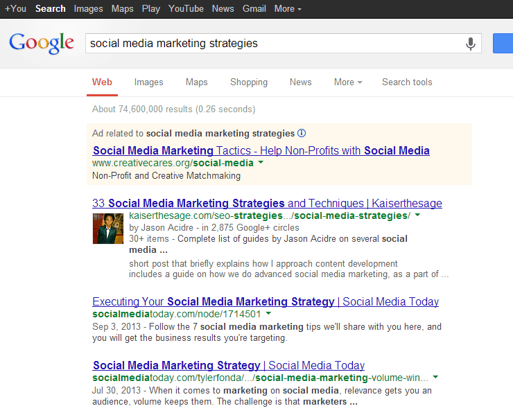 social media marketing SERP