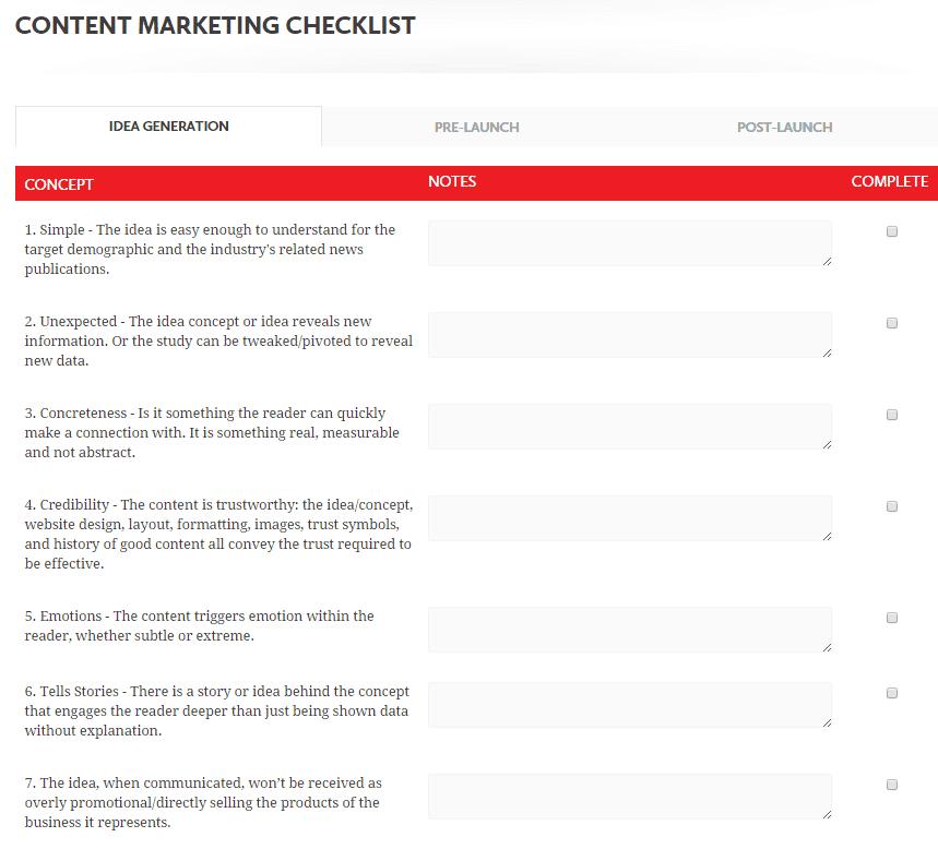 content marketing checklist seige media