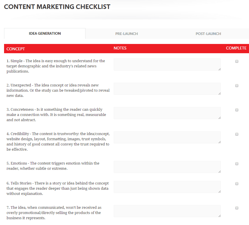 70 useful inbound marketing checklists and cheat sheets content marketing checklist seige media fandeluxe Gallery